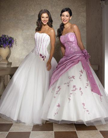 There are other white and purple bridal gowns as well