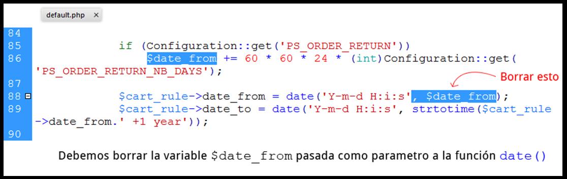 default.php del módulo loyalty de Prestashop