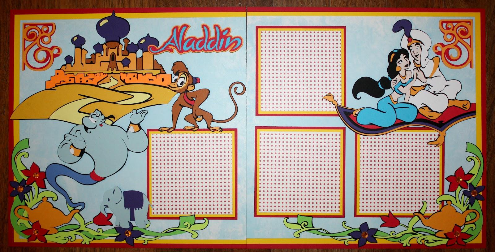 Disney scrapbook ideas - Aladdin 12x12 Double Scrapbook Layout