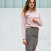 Pencil Skirt and pink blouse