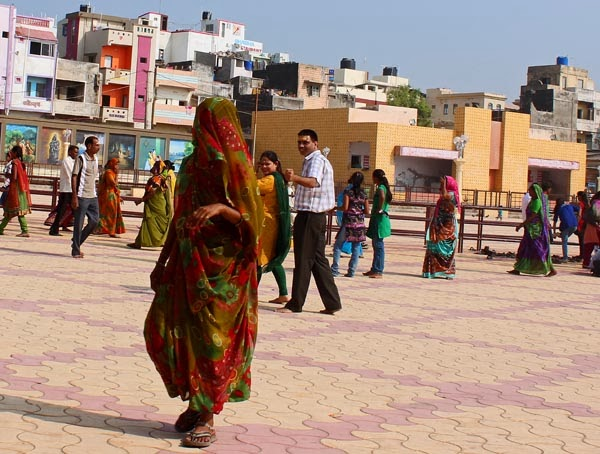 Gujarati woman with face covered