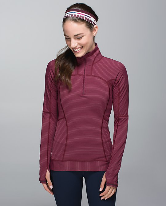 lululemon rust berry run for gold half zip