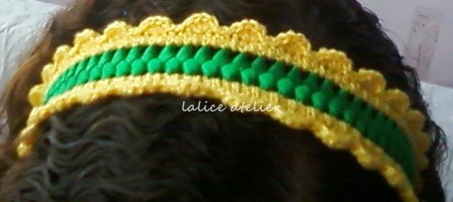 faixa cabelo, tiara, verde amarelo