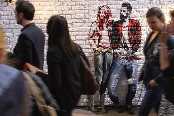 Interesting Street Art and Fashionable Woman and Man