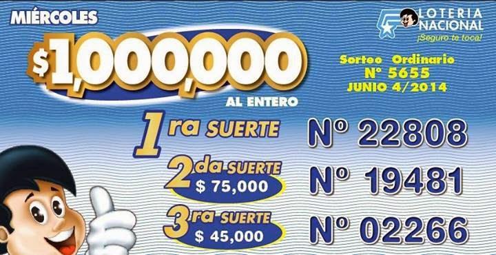 Numeros ganadores de loteria nacional sorteo 5655