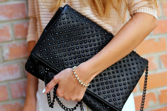 Zara bag, black studded Zara clutch, spike bracelet, outfit details