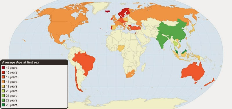 40 Maps That Will Help You Make Sense of the World - Average Age of First Sexual Intercourse by Country