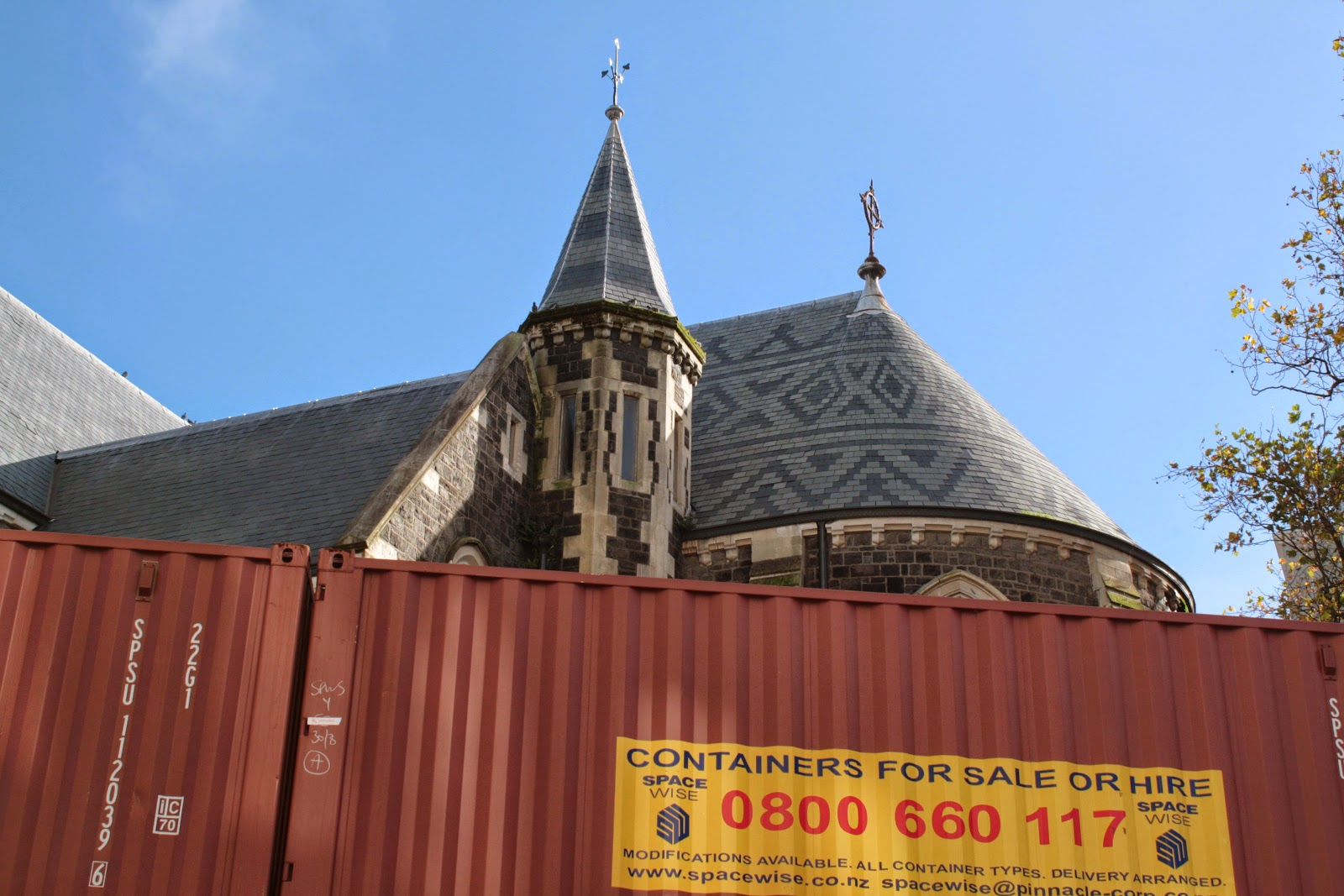The Christchurch Cathedral, and a shipping container.