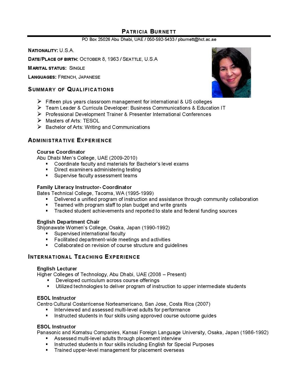 International Educator Curriculum Vitae