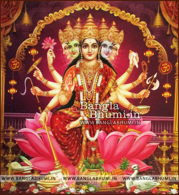 Mata Laxmi Goddess of Money ten Hands five Faces Indian God HD Poster Wallpaper