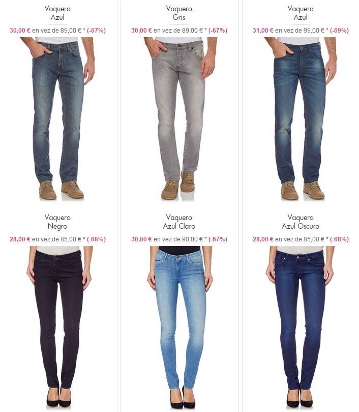 Ejemplos de pantalones vaqueros de Wrangler para hombre y mujer