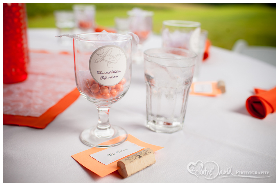 Colorful wedding favors.