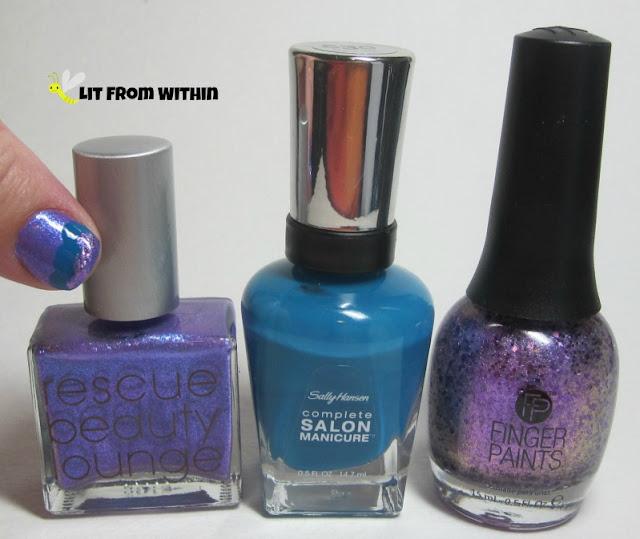 Bottle shot:  Rescue Beauty Lounge Galaxsea, Sally Hansen Salon Please Sea Me, and Finger Paints Violaceous Vase.