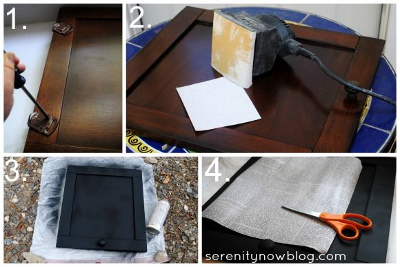 Make a Sign from a Cabinet Door, Serenity Now blog