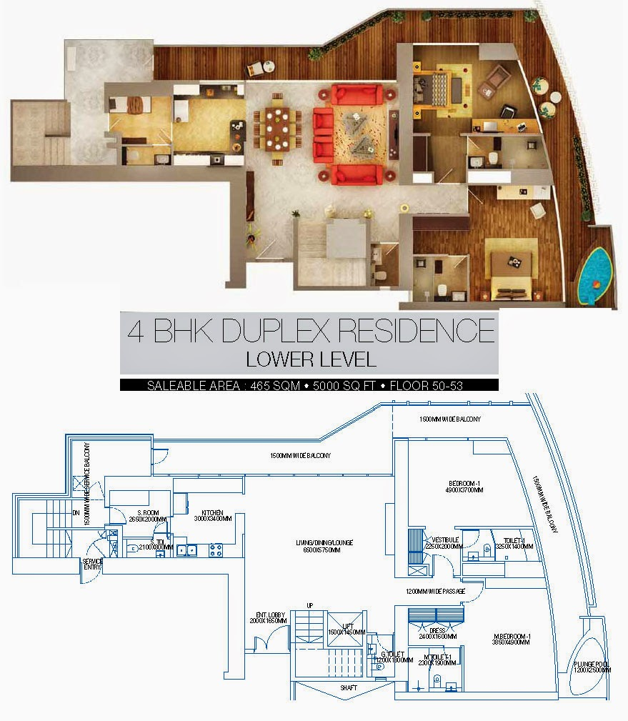 BRYS BUZZ :: Floor Plans 4 BHK Duplex Residence Lower level