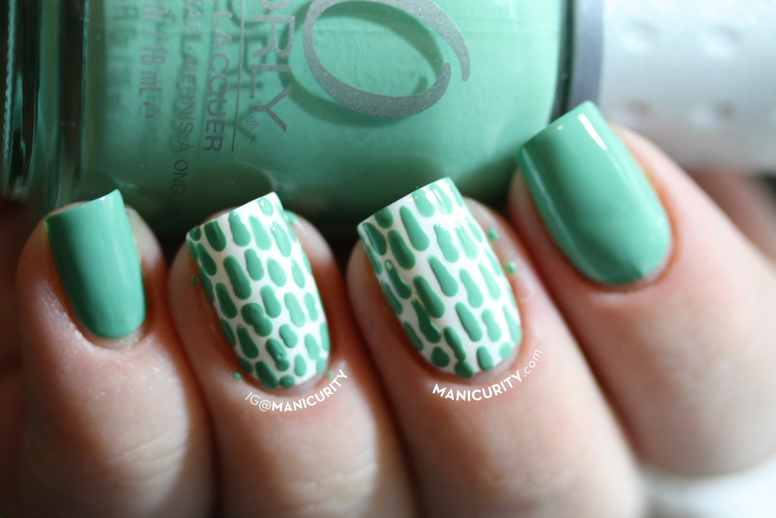 Manicurity | Freehand Lace Skittles Nail Art - lace nails using Orly Ancient Jade