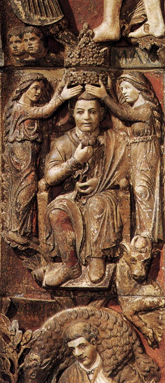 13th century bas-relief of the month of May, Central door, Basilica San Marco, Venice