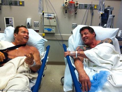 Arnold Schwarzenegger and Sylvester Stallone in hospital