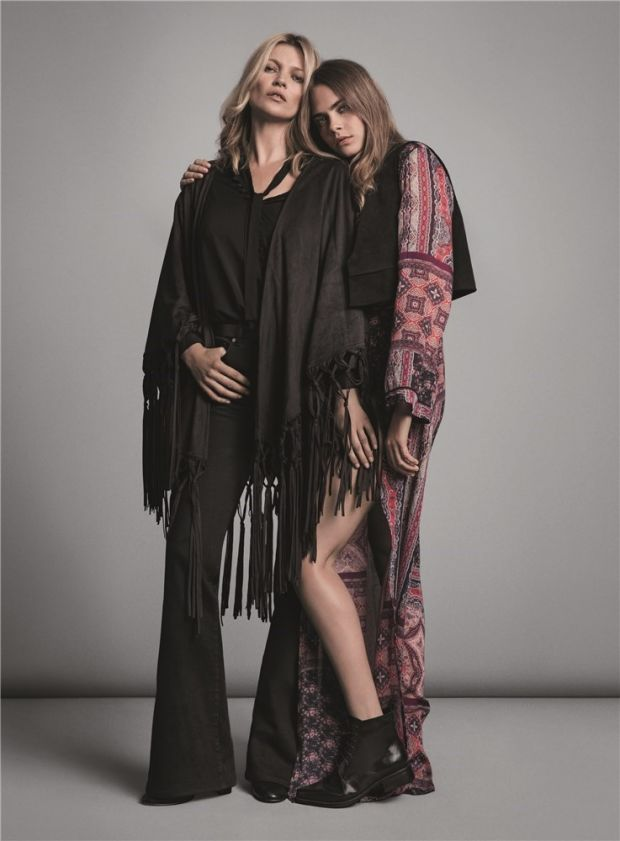 Cara Delevingne and Kate Moss pair up for the Mango Fall 2015 Campaign