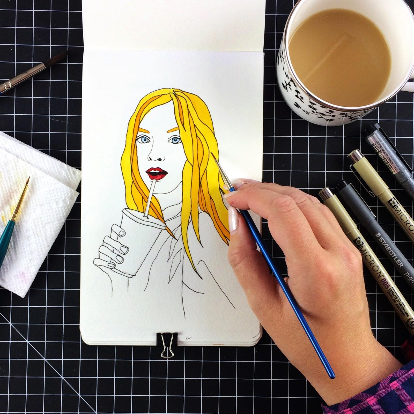 Inktober fashion illustration of Eva Staudinger by Jessica Mack aka BrownPaperBunny