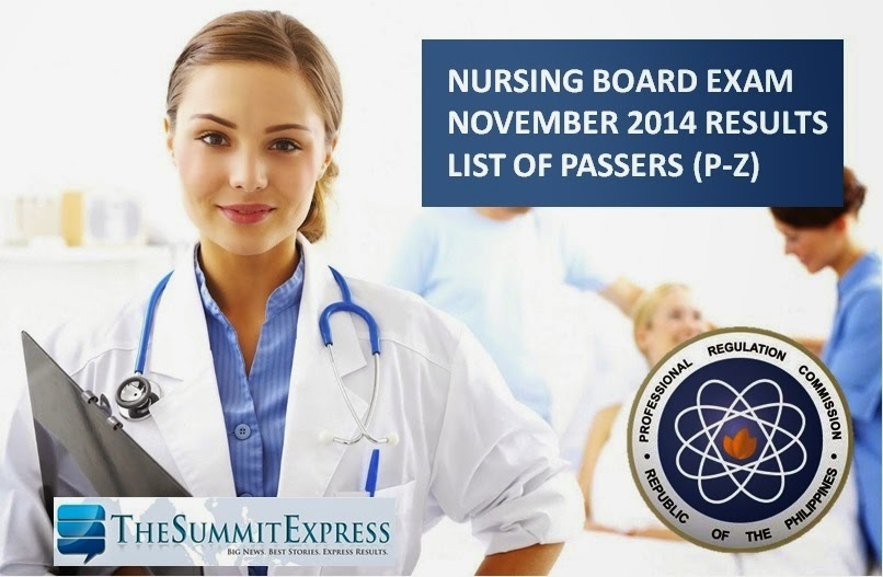 November 2014 Nursing board exam NLE Results P-Z List of Passers