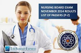 November 2014 Nursing board exam NLE Results P-Z List of Passers