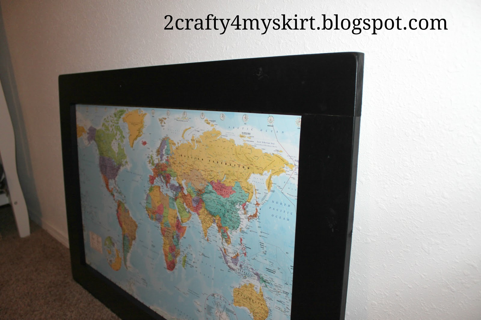 2 crafty 4 my skirt framed world map on cork board framed world map on cork board gumiabroncs Choice Image