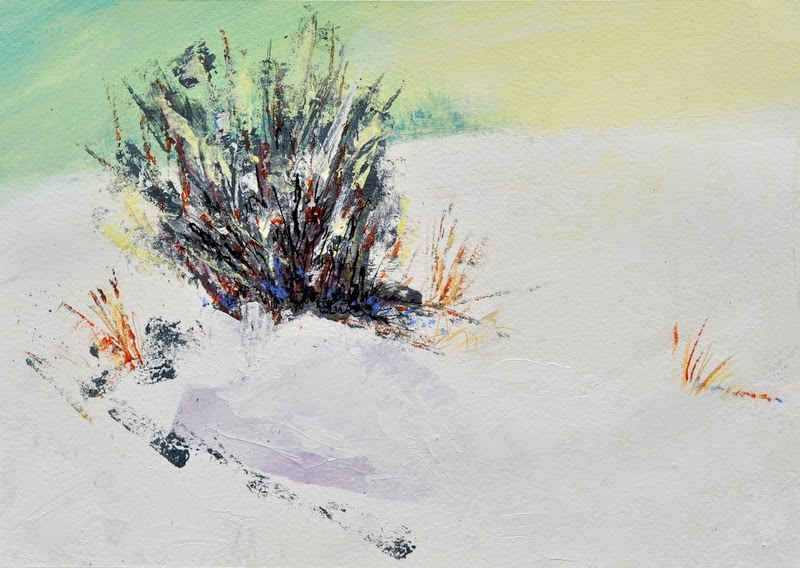 painting, winter, snow, mixed media