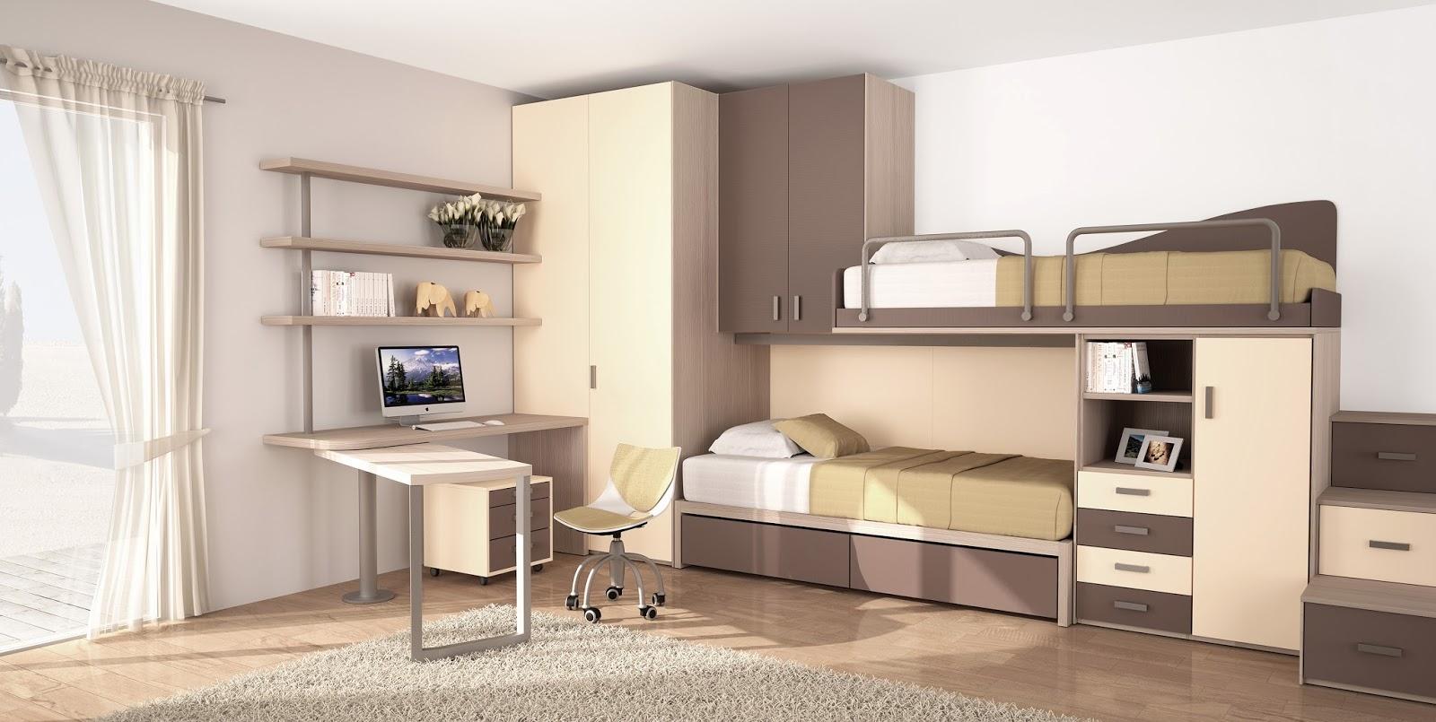 Camerette a soppalco con scrivania e armadio - Pensili sopra letto ...