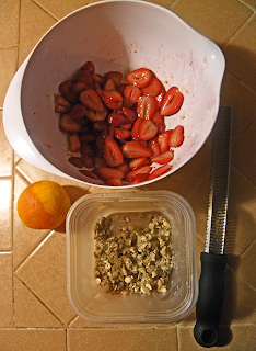 Bowl of Strawberries, Bowl of Topping, Orange and Zester