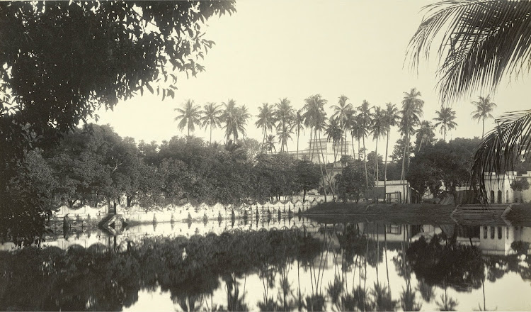 Distant view of the Palace across the Sulipukur Tank - Burdwan (Bardhaman), Bengal, 1904