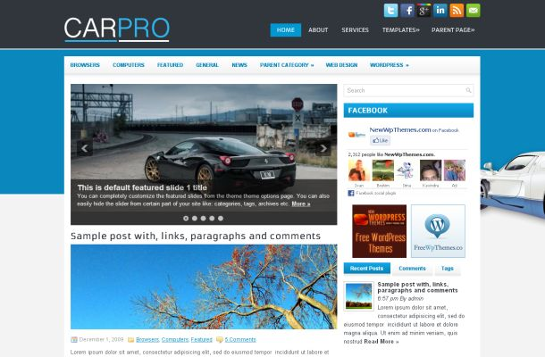 Free Wordpress Blue Cars News Blog Theme Template
