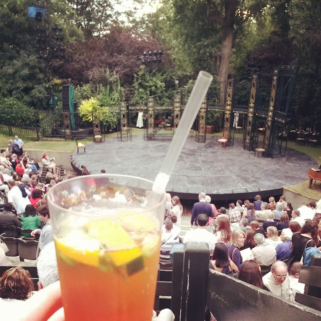 Having a Pimm's at Regent's Park Open Air Theatre, London