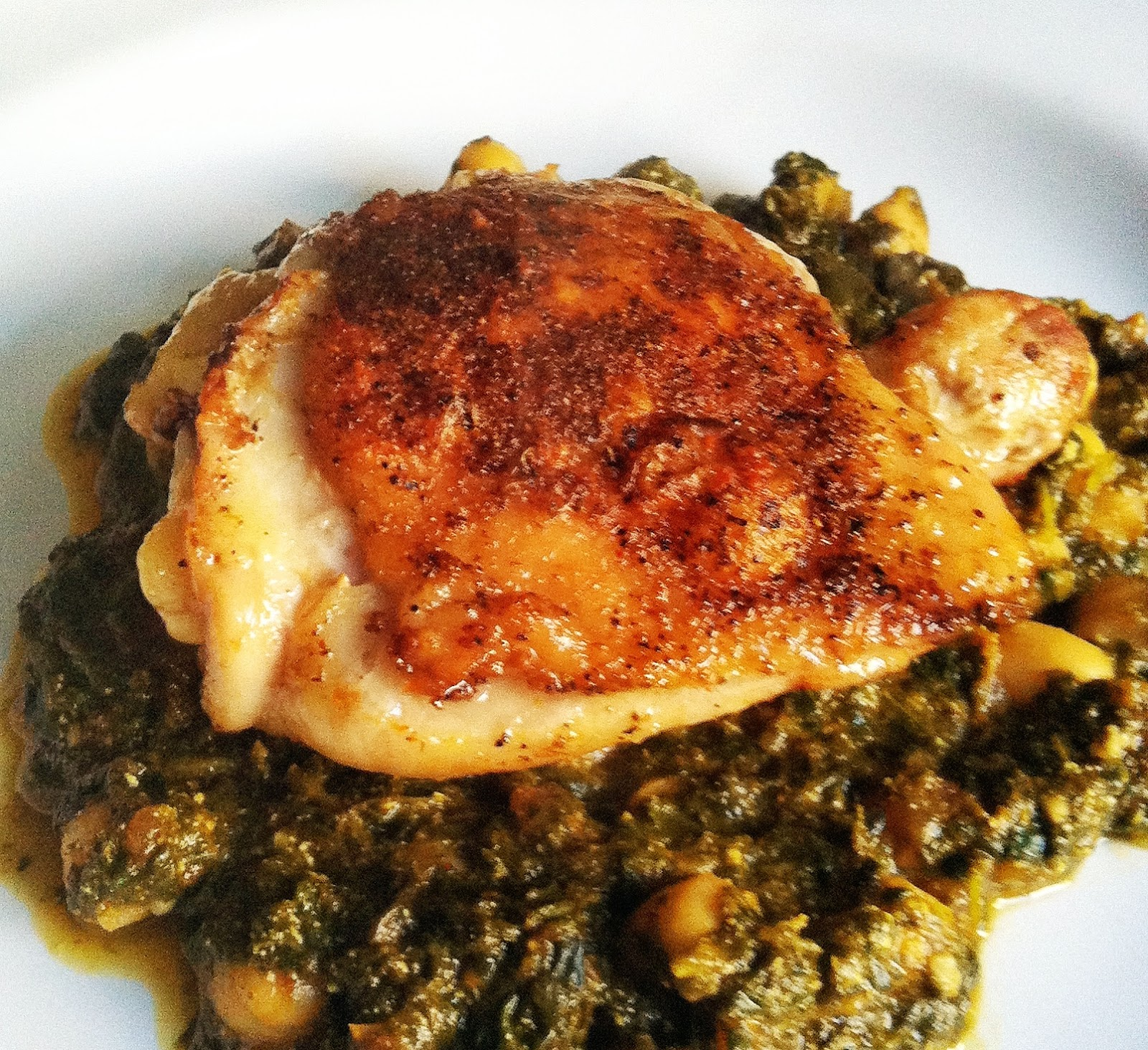 Taylor made indian spiced chicken thighs over chana saag forumfinder