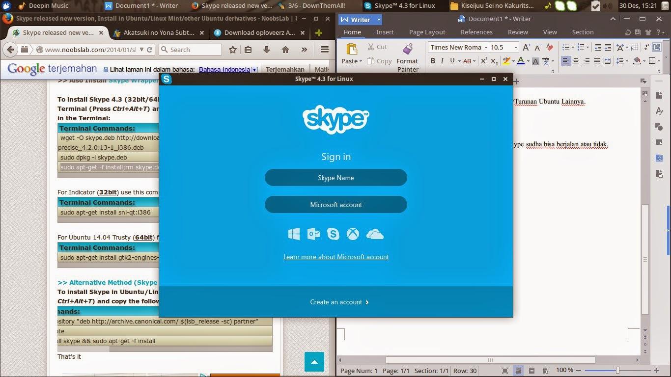 Install Skype di Ubuntu/ Linux Mint/Turunan Ubuntu Lainnya