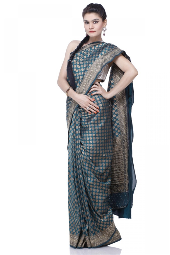 Dark Green Kattan Silk Banarasi Saree