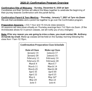 Confirmation Class Schedule