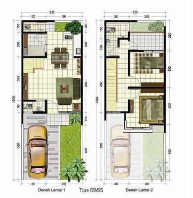 Denah Rumah Sederhana Minimalis Modern