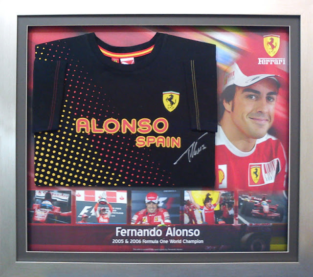 Fernando Alonso - Signed Jersey Framed with Background Design