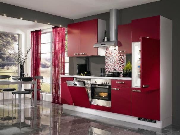 Contoh Desain Kitchen Set Minimalis Modern Warna Merah