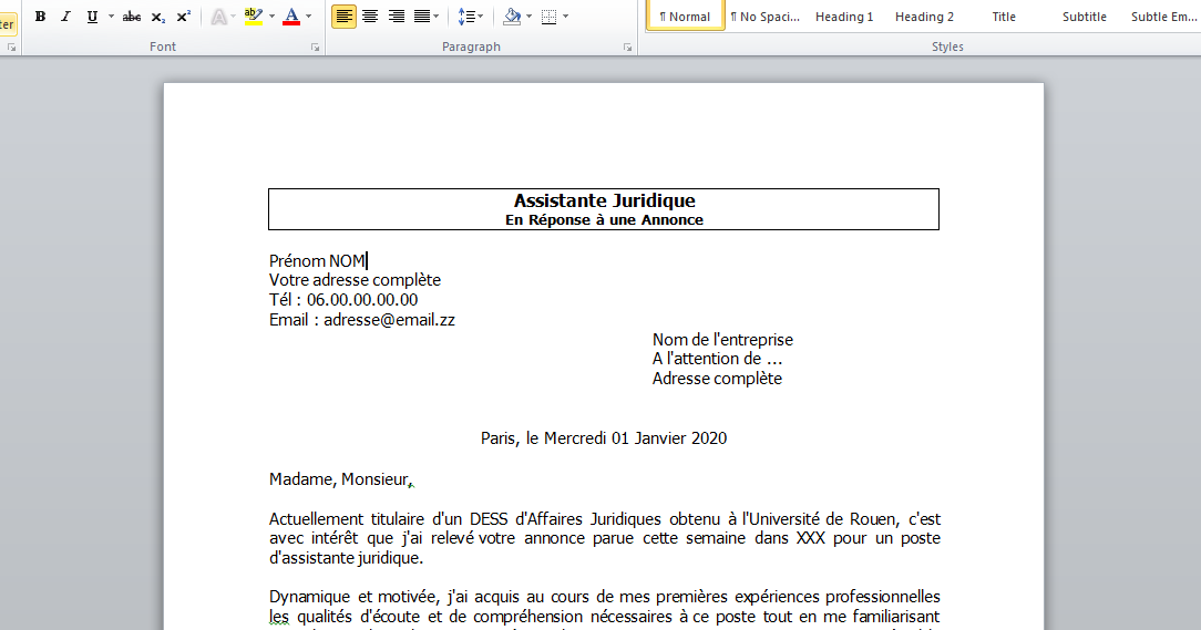 exemple lettre de motivation assistante juridique r u00e9ponse