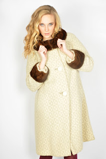 Vintage 1960's ivory op-art mod style coat with brown mink collar and cuffs.