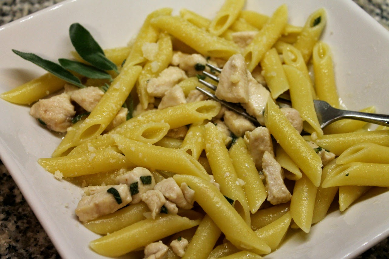 Penne with Garlic, Chicken and Sage