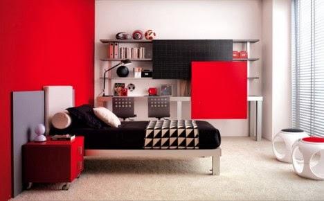 การตกแต่งห้องนอนแบบสีแดงสวยๆ