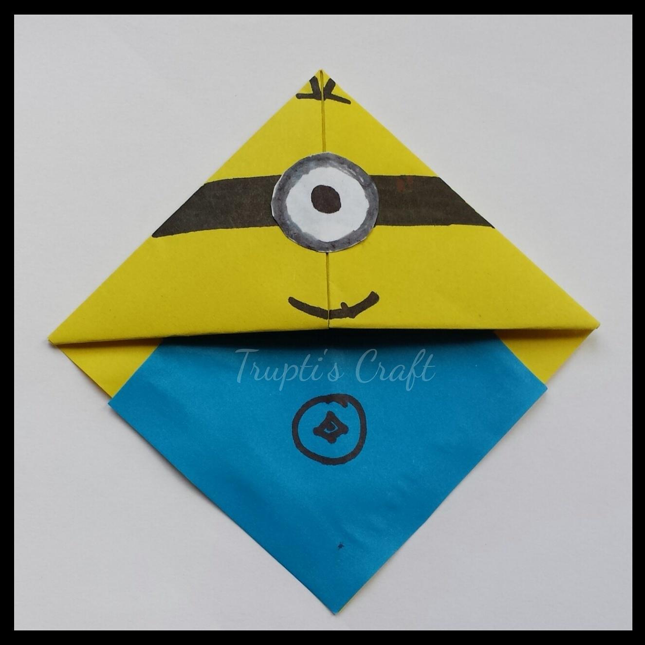 Truptis Craft Origami Minion Corner Bookmark