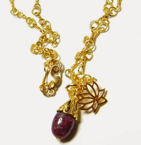 gold lotus necklace with genuine ruby