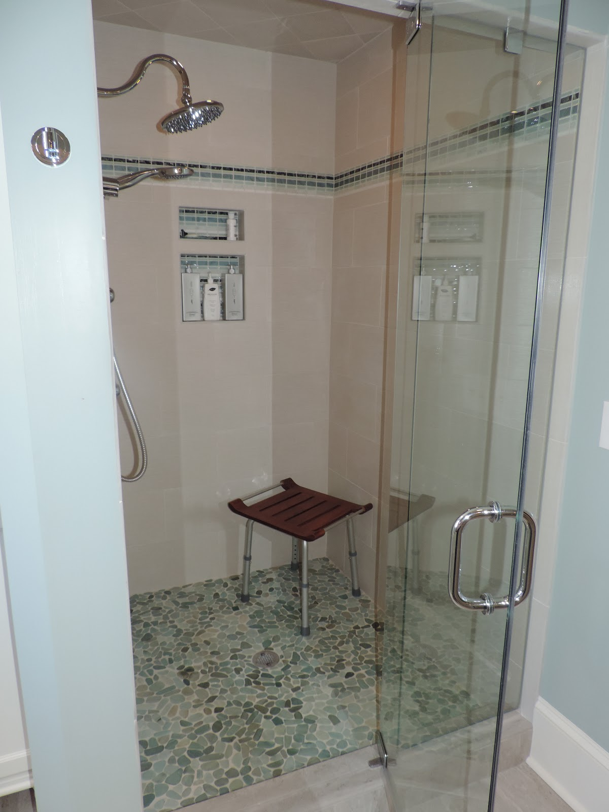 New Tile tops cabinets and plumbing We added a custom linen cabinet where the bidet used to be
