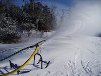 Snowmaking gun in operation at Gore Mountain last winter.  The Saratoga Skier and Hiker, first-hand accounts of adventures in the Adirondacks and beyond, and Gore Mountain ski blog.