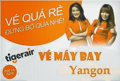 Vé máy bay Tiger Airways đi Yangon