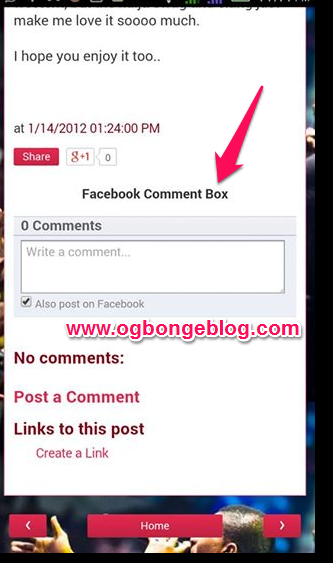 facebook mobile comment box